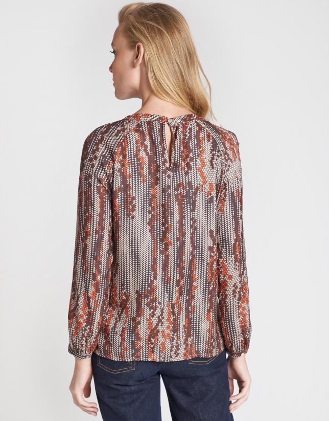 Blusa estampado geométrico marrones