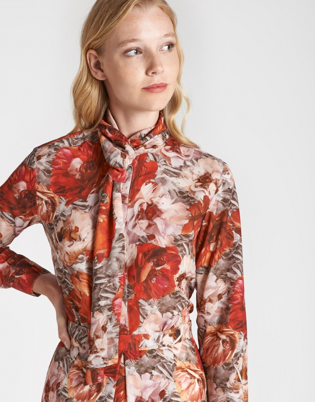 Brick red print blouse with jabot collar