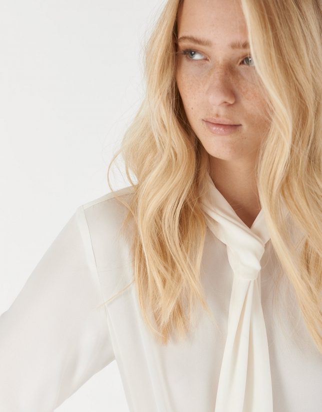 Beige blouse with jabot collar