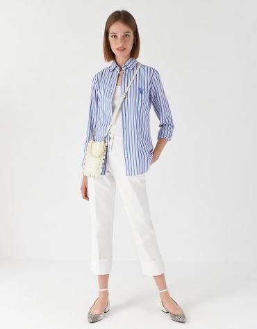 Camisa rayas azul/blanco logo