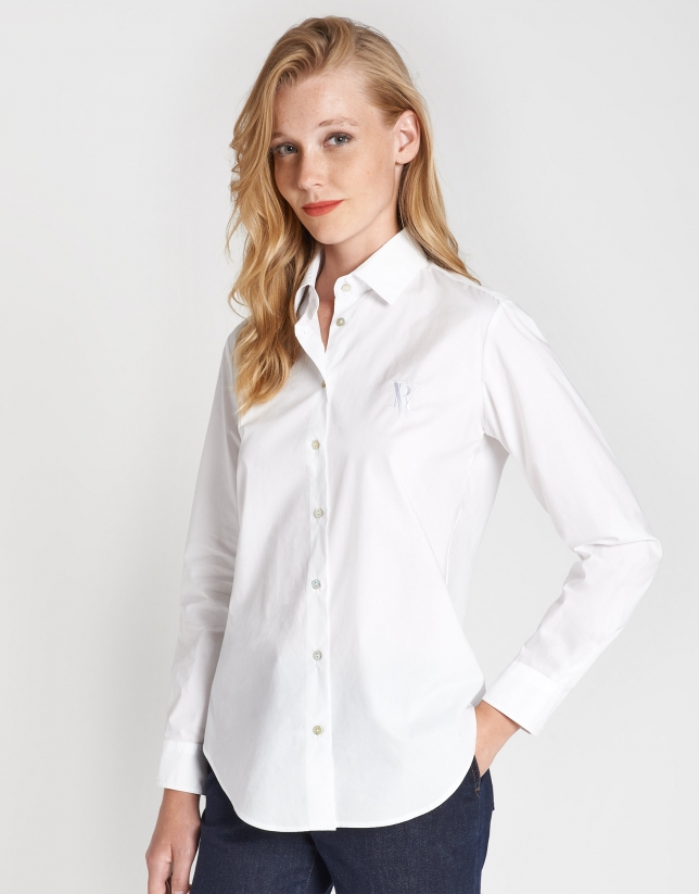 White cotton shirt with logo