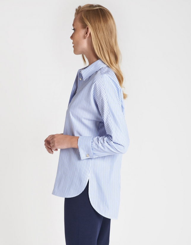 Blue and white striped loose shirt with cufflinks