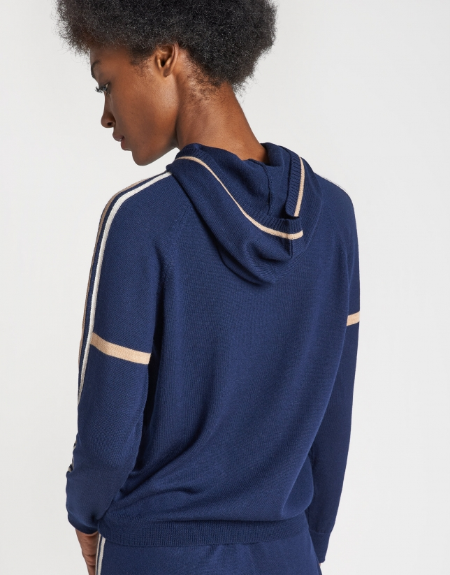 Navy blue knit sweatshirt