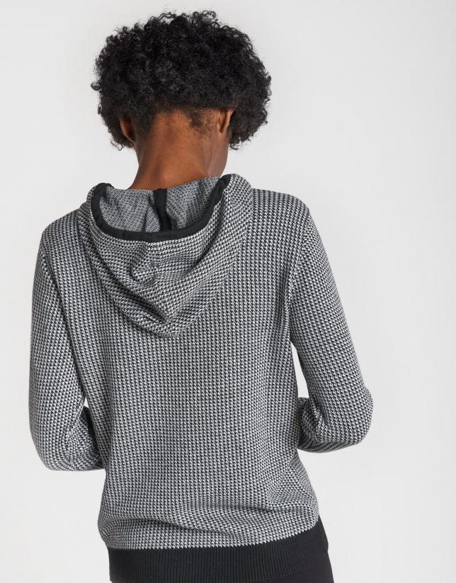 Black houndstooth jacquard sweatshirt