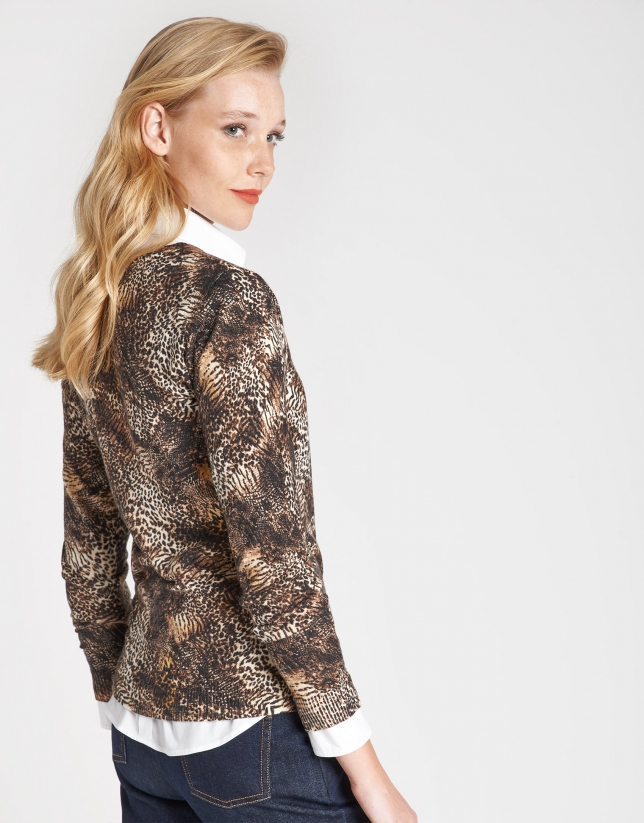 Natural animal print top with long sleeves