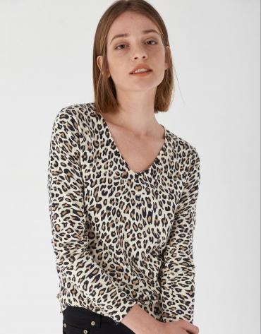Camiseta manga larga animal print marrones