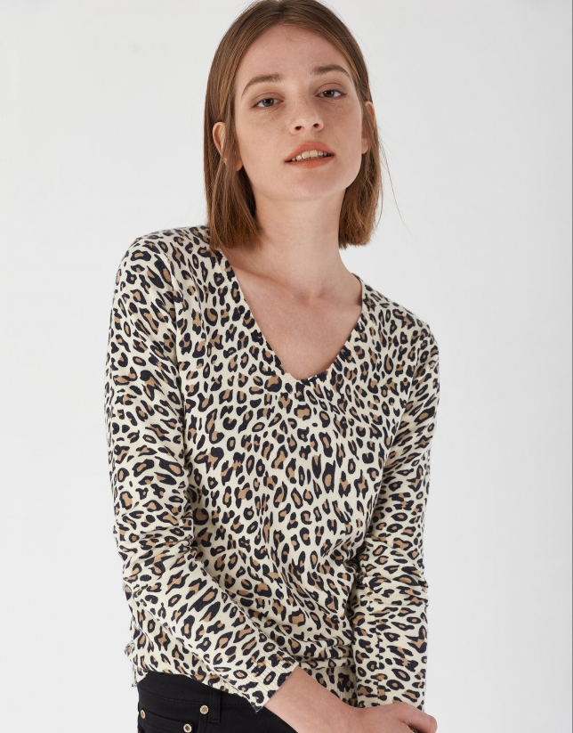 Brown animal print top with long sleeves