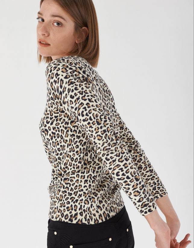 Brown animal print top with long sleeves