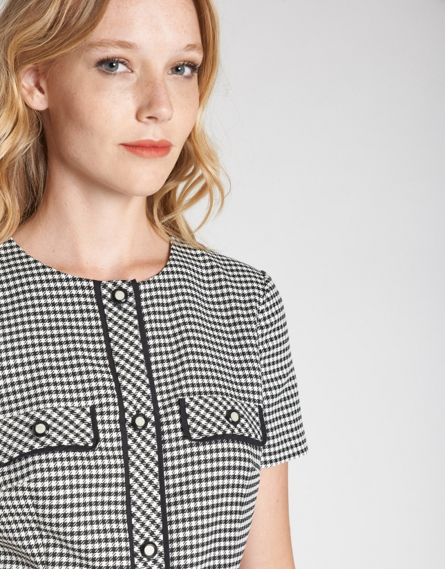Black and white houndstooth dress with short sleeves