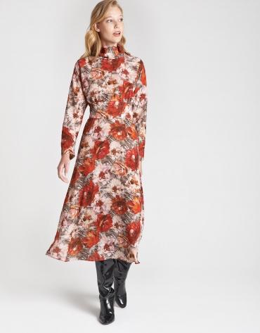 Brick red floral print shirtwaist dress with jabot collar