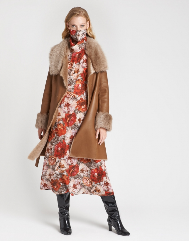 Brick red floral print shirtwaist dress with jabot collar