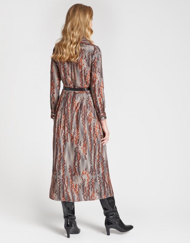 Brown geometric print midi shirtwaist dress