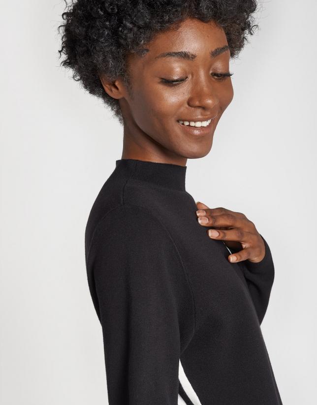 Vestido punto negro perfil blanco