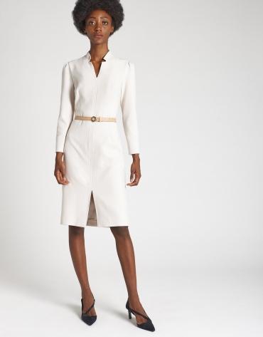 Shirtwaist dress with beige belt