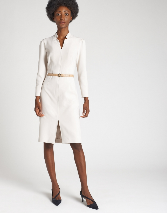 Shirtwaist dress with beige belt