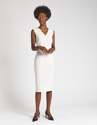 Beige sleeveless dress with V neck