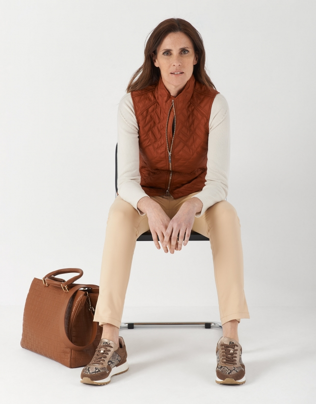 Brick red quilted vest