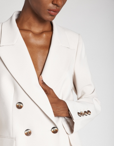 Beige double-breasted blazer