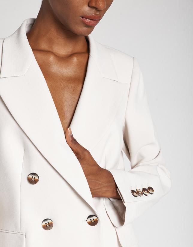 Beige double-breasted blazer