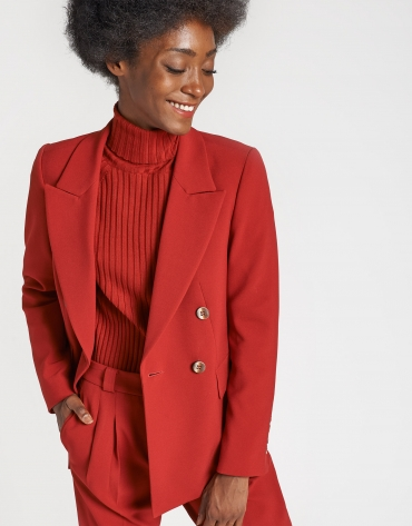 Red double-breasted blazer