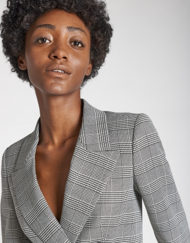 Gray glen plaid double-breasted blazer