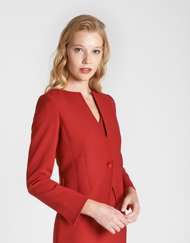 Red short jacket with back-stitching
