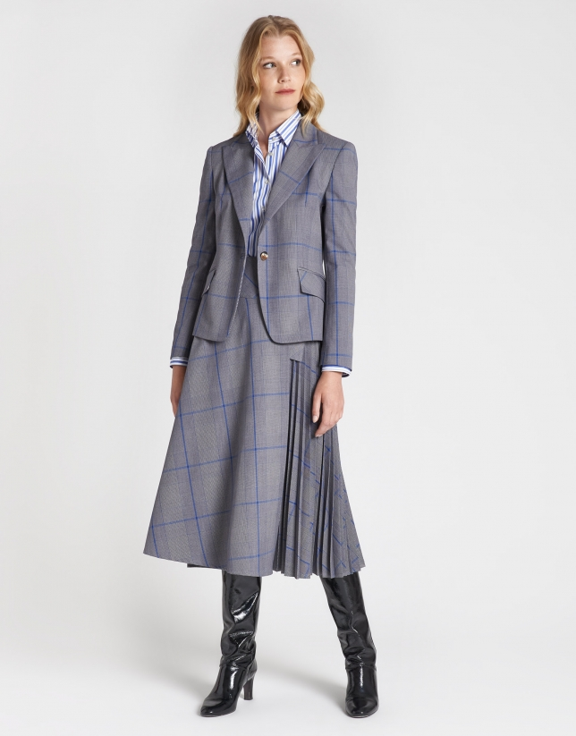 Gray and blue glen plaid blazer