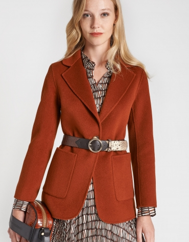 Brick red short wool coat