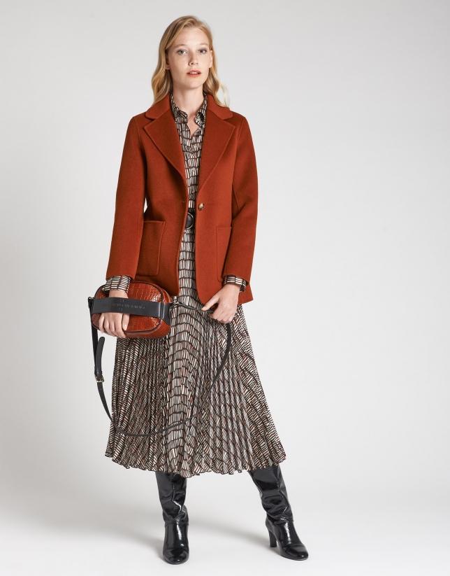 Abrigo de lana corto teja