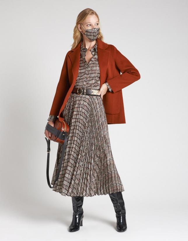 Brick red short wool coat