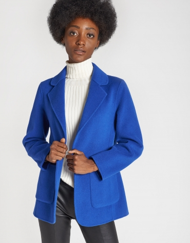 Deep blue short wool coat