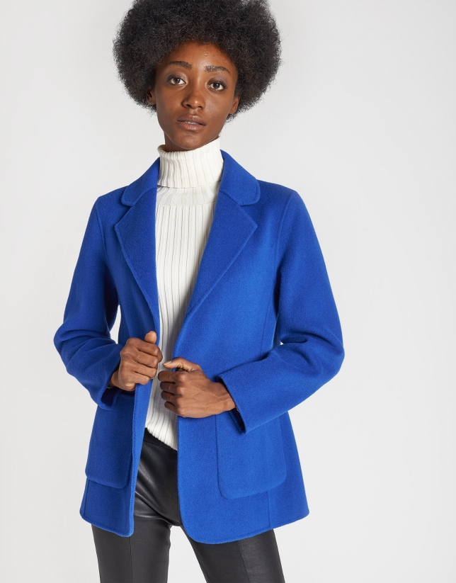 Deep blue short wool coat