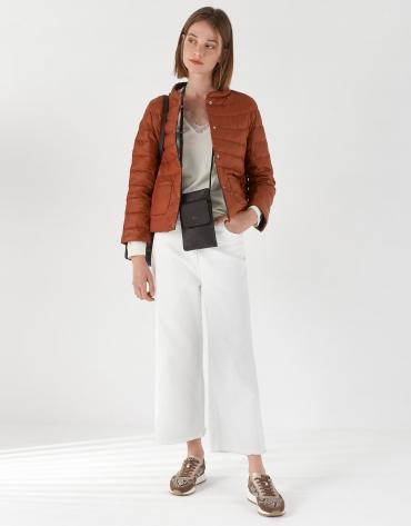 Brown and red brick reversible short ski jacket
