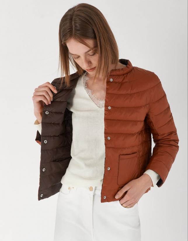 Black and red brick reversible short ski jacket