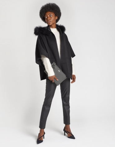 Black wool cape coat