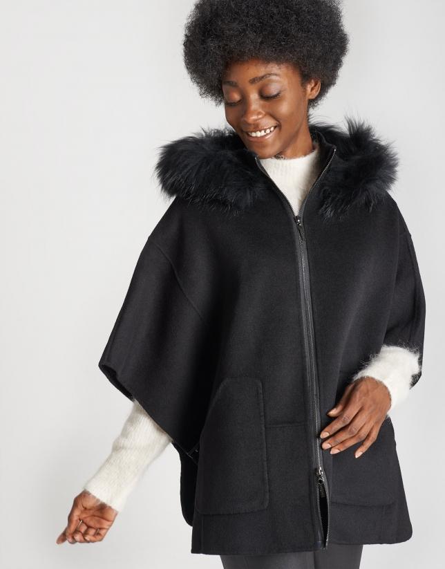 Black wool cape coat