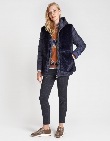 Quilted coat with blue fur vest