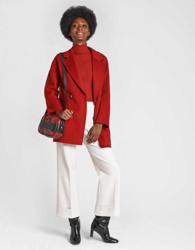 Abrigo corto cruzado lana rojo