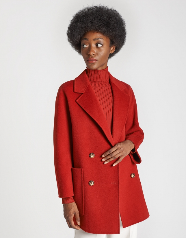 Red wool double-breasted coat