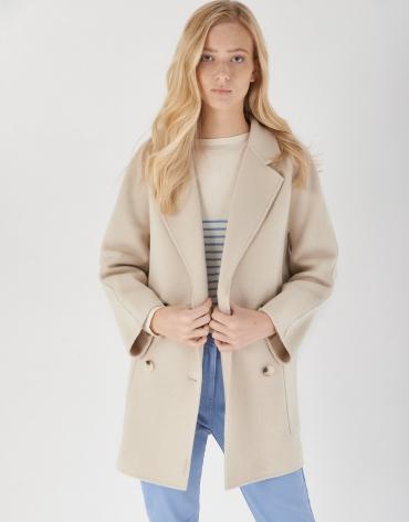 Abrigo corto cruzado lana crudo