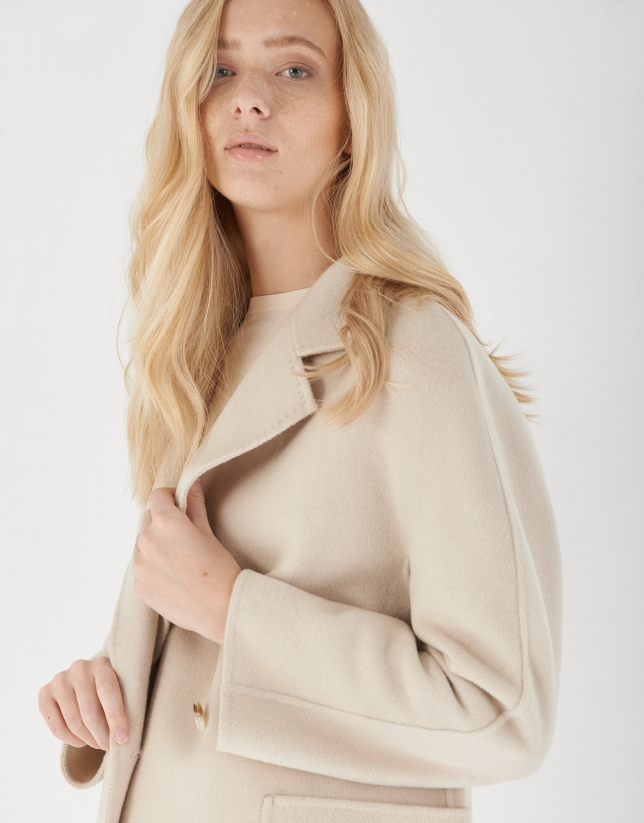 Beige wool double-breasted coat