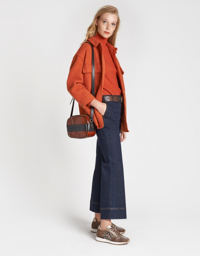 Brick red wool shacket