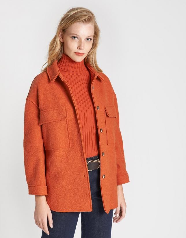 Abrigo sobrecamisa lana teja