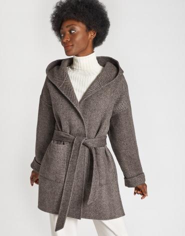 Abrigo corto de lana espiga marrón