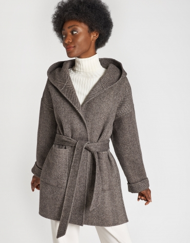 Brown herringbone wool short coat