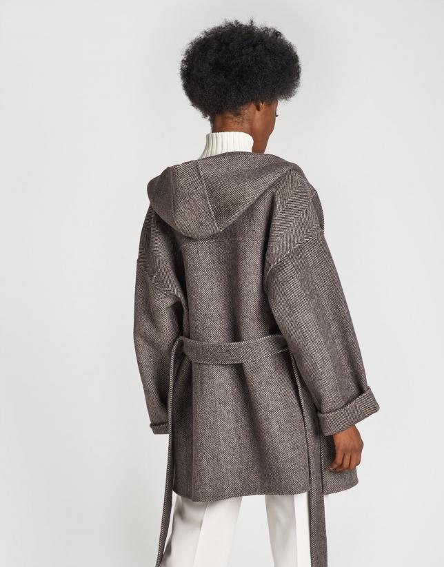 Brown herringbone wool short coat