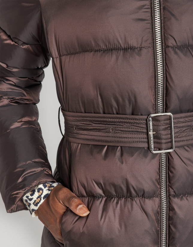 Brown long quilted coat