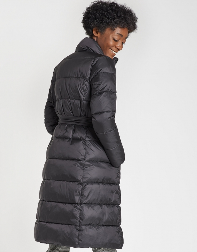 Black long quilted coat