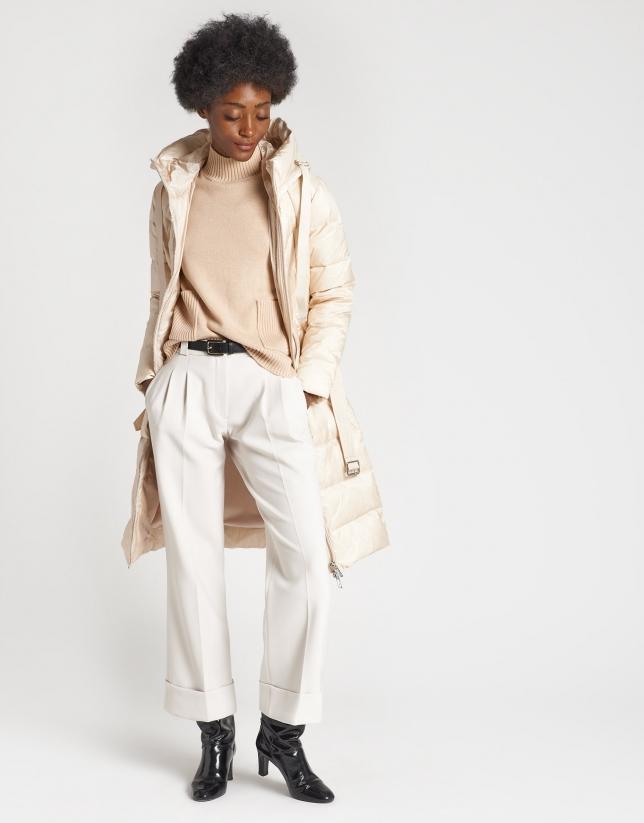 Beige long ski jacket with hood