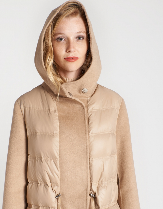 Combination beige wool and quilted coat